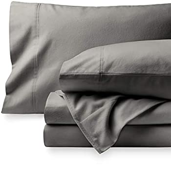Bare Home Flannel Sheet Set 100% Cotton Velvety Soft Heavyweight - Double Brushed Flannel - Deep Pocket  Queen Grey