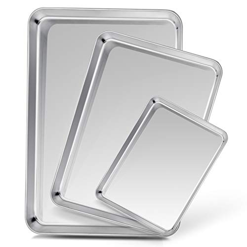 TeamFar Baking Sheet Set of 3, Stainless Steel Cookie Sheet Baking Tray Pan, Healthy & Non Toxic, Mirror Finish & Rust Free, Easy Clean & Dishwasher Safe