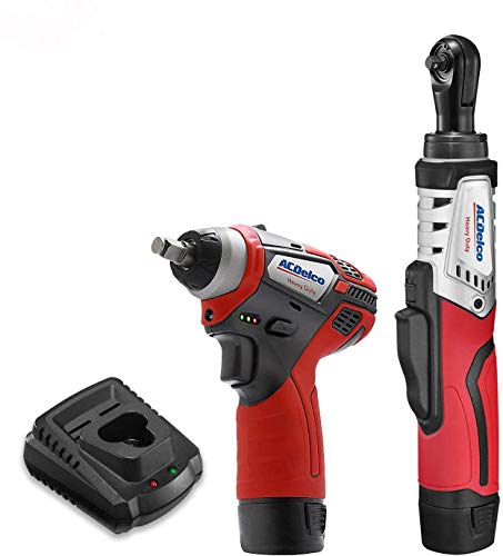 "ACDelco ARW12102-K3 G12 Series 12V Cordless Li-ion 1/4"" Brushless Rachet Wrench & 3/8"" Impact Wrench Combo Tool Kit with 2 Batteries"