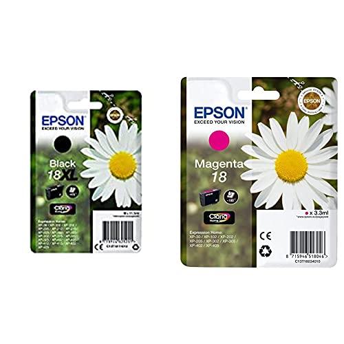 Epson C13T18114012 18XL Cartouche d'encre d'origine Claria Home Noir Amazon Dash Replenishment est prêt & Pâquerette 18 T1803 Cartouche d'encre Magenta