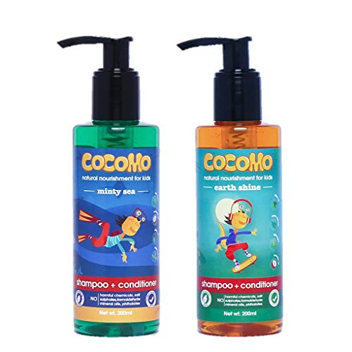 Cocomo Natural Earth Shine + Minty Sea Shampoo For Kids, Softer & Stronger Hair 400 ml combo pack