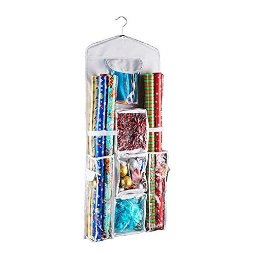 Idiytip Sacs de Rangement Suspendus Multifonctionnels, Stockage de Papier d'emballage, Support de Sacs de Finition Double Face Portable