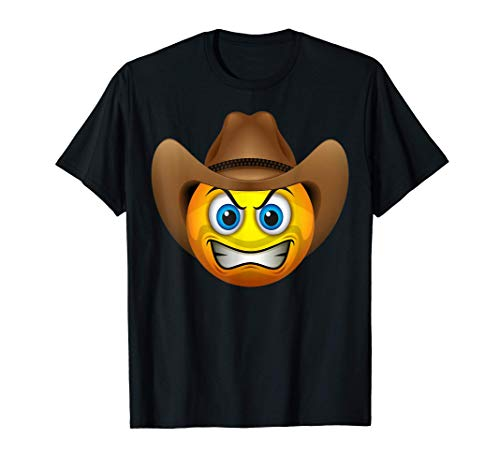 Cute Angry Cowboy Emoji Face With Hat Emoticon Halloween T-Shirt