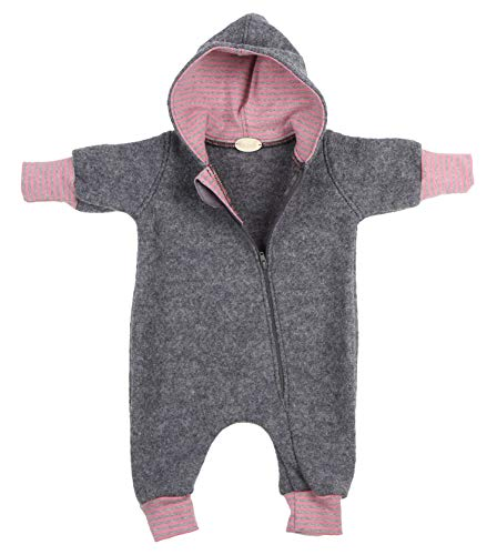 """Lilakind"""" Baby Wollwalk Overall Einteiler mit Kapuze Walkloden Walkoverall Grau Meliert Rosa Gr. 86/92 - Made in Germany"""