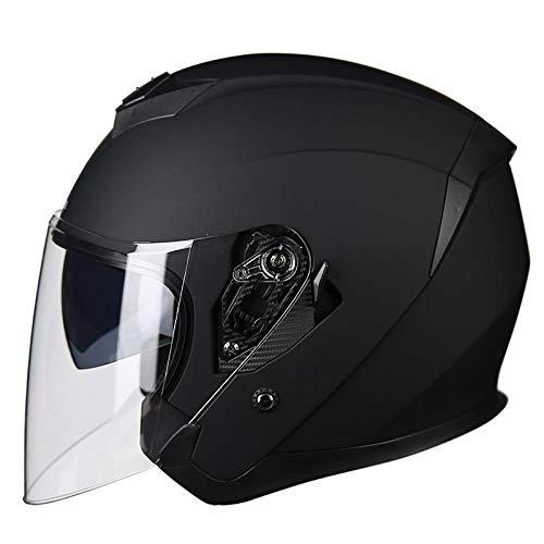 BUETR Casco de motocicleta eléctrica medio casco casco de locomotora batería coche cuatro estaciones universal espejo doble casco-L_Matt Negro (lente transparente)