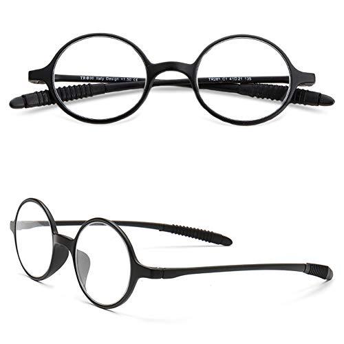VEVESMUNDO Lesebrillen Damen Herren Lesehilfe Sehhilfe Retro Runde Schmal Flexibel Leicht Nerd Brillen mit Stärke 1.0 1.5 2.0 2.5 3.0 3.5 4.0 (1 Stück Schwarz, 1.5)