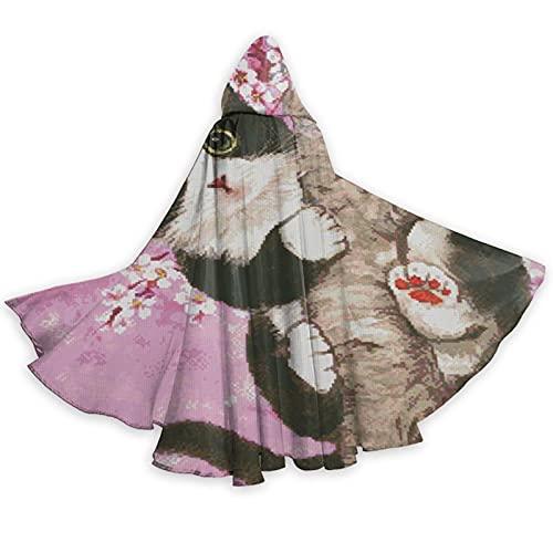 Capa con capucha de gato de flor de cerezo de longitud completa con capucha para cosplay disfraz de disfraz de lujo para Halloween decoraciones fiesta