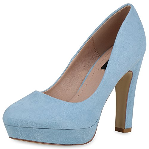 SCARPE VITA Damen Plateau Pumps Party High Heels Wildleder-Optik Abendschuhe 162783 Blau Velours 38