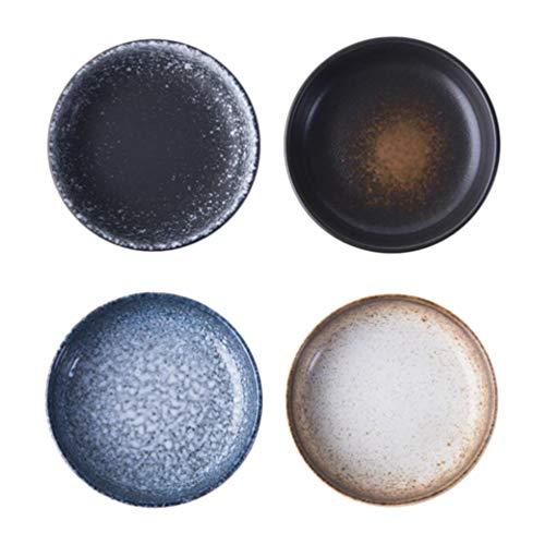 BESTonZON 4 Stück Saucenschalen Keramik Schälchen Mini Teller Retro Saucenschälchen Vintage Sushi Dippschalen Schüsselchen Servierschalen Tauchschalen für Vorspeise Snack Sojasauce 9CM