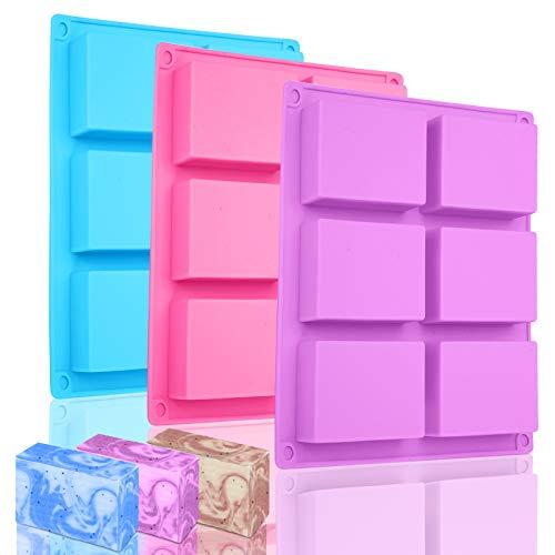 3 Stück Silikonform Rechteckig, Bolatus Seifenform 6-Cavity Silikonformen Seife DIY Silikon Form für Backen Kuchen Schokolade Biscuit Eiswürfel Selbstgemachte Handarbeit (Rosa + Blau + Lila)