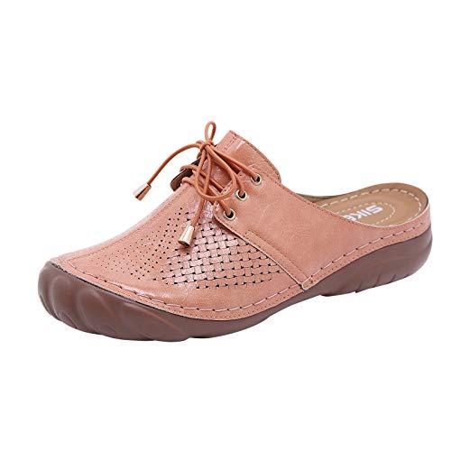 Damen Sandalen Keilsandalen Schnürschuhe Closed Toe Slingback Slip On Hausschuhe Slipper Sommer Outdoor Sandals Freizeitschuhe(1-Pink/Pink,41)