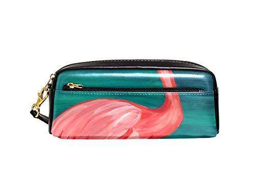 Flamingo bebida vino tinto lápiz caso pu cuero papelería bolsa caso escuela lápiz caja mujeres cosméticos bolsa