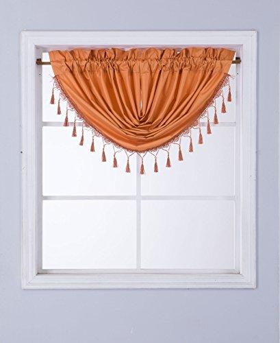GorgeousHomeLinen (RS8) 1 Short Decorative Rod Pocket Foam Lined Blackout Silk Swag Waterfall Window Curtain Valance for Kitchen, Living Room, Bedroom, Nursery, Basement & Bathroom (Orange)