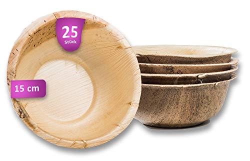 Waipur Bio Palmblattschalen - 25 große Schalen Ø 15 cm / 500 ml - Premium Einweggeschirr kompostierbar - Einweg Suppenteller - Palmblatt Suppenschale