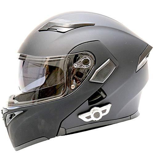 Casco Bluetooth para Motocicleta, Casco Abatible Descubierto para Motocicleta, Casco Modular con Visor Solar De Doble Lente Certificado por Dot con Auriculares Bluetooth