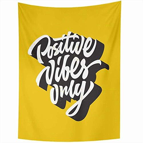 Tapiz colgante de pared Retro amarillo creativo positivo vibraciones solo mano camiseta letras cita Vintage Hipster frase genuina decoración del hogar