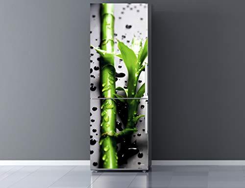 Pegatinas Vinilo para Frigorífico Rama bambú Gotas Agua |