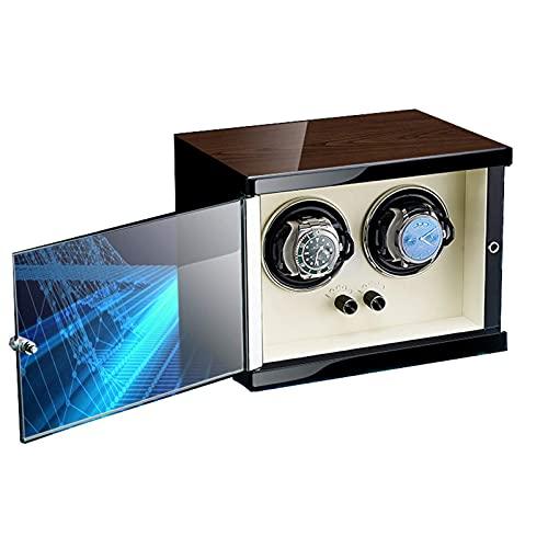 WBJLG Enrollador de Reloj para 2 Relojes automáticos Ajuste de 5 Modos de rotación con Motor súper silencioso Carcasa de Madera Acabado de Piano Diseño antimagnético Cuero de Microfibra