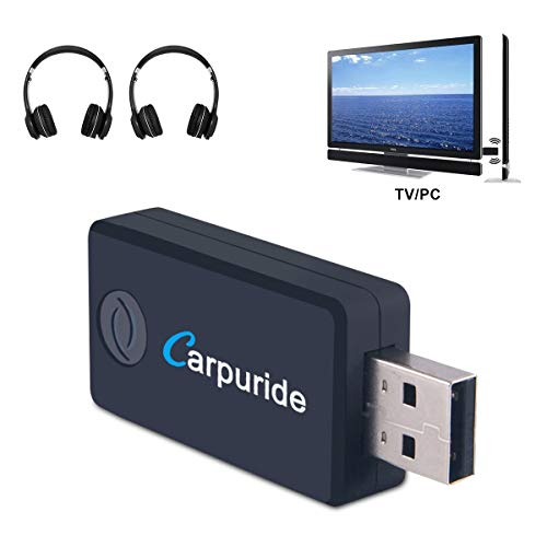 CARPURIDE (Upgrade-Version) Bluetooth Transmitter Sender für TV, PC, 3.5mm, RCA, USB Wireless Audio Adapter für 2 Kopfhörer (Dual Link), Low Latency, High-Fidelity-Stereo, Plug & Play