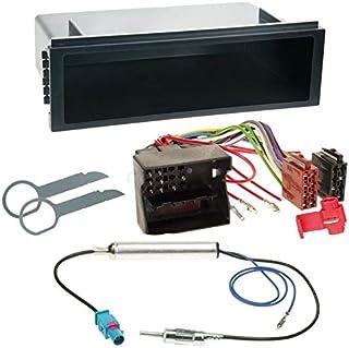 Carmedio VW Polo 9N3 05 08 1 DIN Autoradio Einbauset in original Plug&Play Qualität mit Antennenadapter Radioanschlusskabel Zubehör und Radioblende Einbaurahmen schwarz