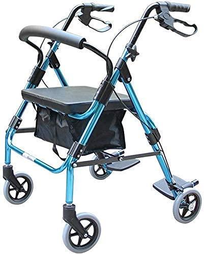 Caminante para Ancianos Sillón de pie Carrito de la Compra Trolley Freno de Mano Plegable con Asiento Capacidad de Carga 150 Kg, Equipo Auxiliar móvil Marco para Caminar para Adultos