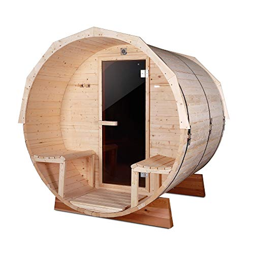 ALEKO 5-Person Pine Barrel Sauna with Panoramic View and 4.5 kW ETL Certified Heater