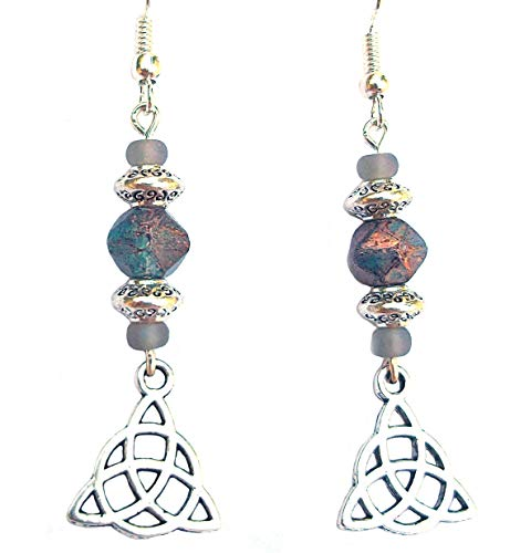 Beaded Celtic Knot Earrings Triquetra Gold Fleck Denim Blue Grey and Silver Handcrafted Dangles