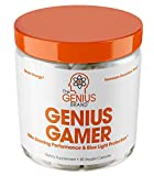 Genius Gamer - Elite Gaming Nootropic | Focus & Brain Booster Supplement - Boost Mental Clarity, Reaction Time, Energy & Concentration  Eye & Vision Vitamins w/Lutein, Support Eye Strain  80 Pills