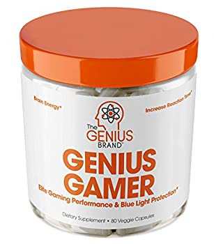 Genius Gamer - Elite Gaming Nootropic | Focus & Brain Booster Supplement - Boost Mental Clarity Reaction Time Energy & Concentration – Eye & Vision Vitamins w/Lutein Support Eye Strain – 80 Pills