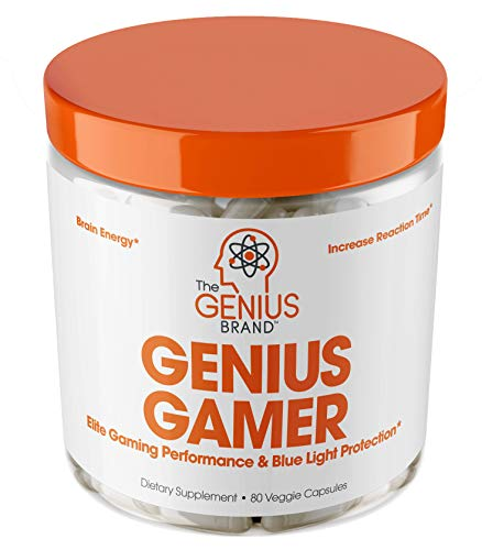 Genius Gamer - Elite Gaming Nootropic | Focus & Brain Booster Supplement - Boost Mental Clarity, Reaction Time, Energy & Concentration – Eye & Vision Vitamins w/Lutein, Support Eye Strain – 80 Pills…