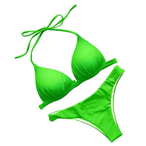 Traje de baño de dos piezas con sujetador acolchado y tanga sexy y descarado, conjunto de bikini mini delgado, cómodo, color sólido, traje de baño halter