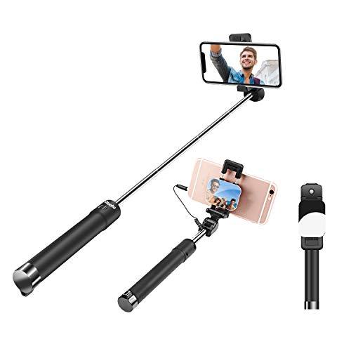 Abafia Bastone Selfie, Mini Selfie Stick Monopiede con Fili per iPhone XR/X / 8 / Samsung A6 2018 / S9 / S8 / Huawei Mate 9 / P20 / Honor 8 e Altri Telefoni Android o iOS (3.5-6.0'') Nero