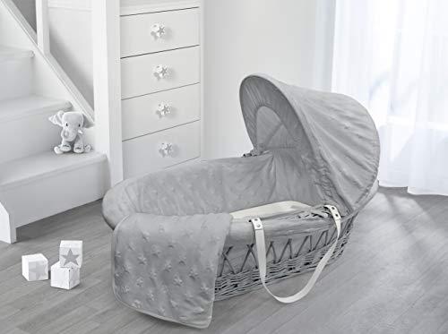 My Little World Baby Moses Wicker Pod Basket (Grey Wicker Moses Basket, Grey Star Dressing)