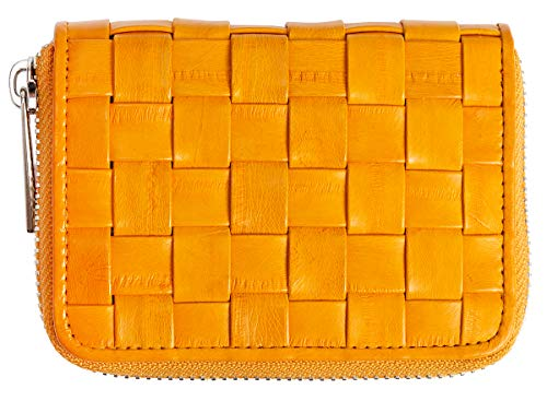 Becksöndergaard Damen Geldbörse Braidy Purse Sunlight Portemonnaie aus 100% Leder Gelb Geflochten mit Reißverschluss - 100040-413
