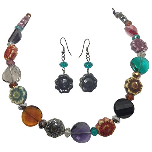 Gypsy Jewels Multi Color Gioiello Toni in Ceramica a Forma di Fiore e Perline in Vetro smussato, con Collana e Orecchini