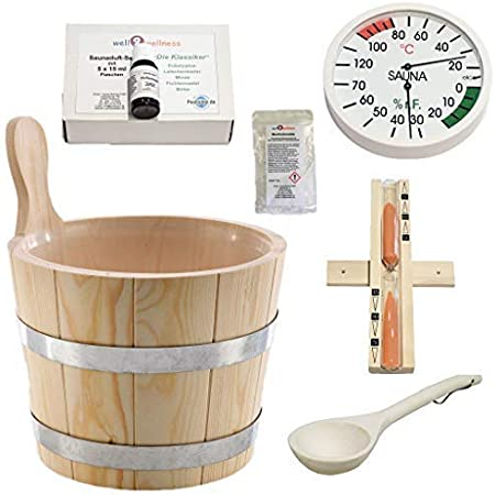SudoreWell® Sauna Starter Set 1 Kit seau et accessoires pour sauna 7 pièces