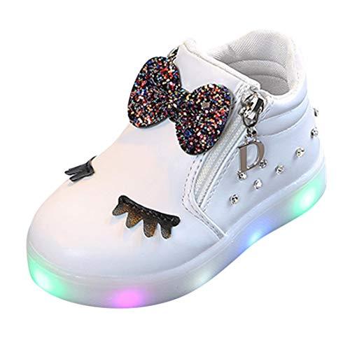 Zapatos de bebé, ASHOP Niña Moda Casuales Zapatillas del Otoño Invierno Deporte Antideslizante del Zapatos Crystal Bowknot LED Botas Luminosas 0-6 Años (Blanco,1-1.5 Años)