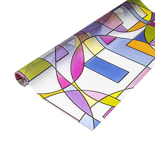 N / A Statische Konservierung Fensterfolie Quadrat und rundes Muster Datenschutz Matte undurchsichtige abnehmbare Farbfolie für Home-Office-Glasdekorationsfolie A28 45x100cm