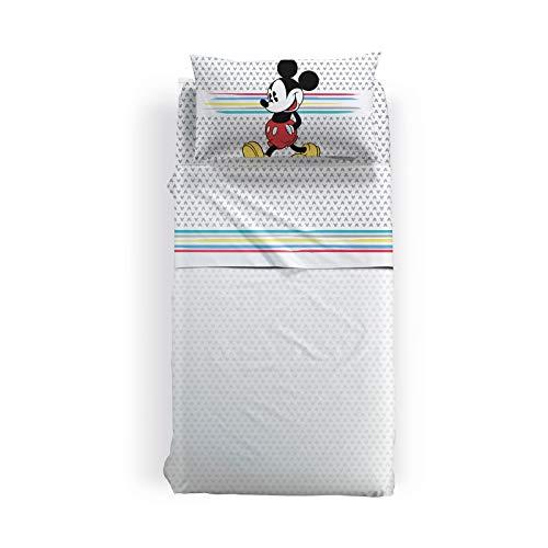 Disney Completo Lenzuola Singolo Mickey Camp in Cotone Unica