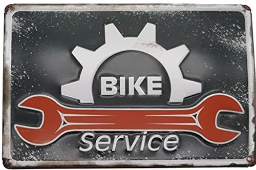 Bike Service Blechschild, geprägtes Werkstatt Schild, Türschild, Wandschild, Dekoration 30 x 20 cm