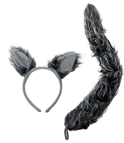 J24630 Wolf Ears & Tail Set Gray, One Size