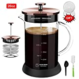 Upgraded French Press Coffee Maker Glass 20 oz, French Coffee Press with Glass handle and non-slip silicone base Precise Scale Easy to Clean Durable Heat Resistant Black/Copper/Silver (Copper, 20oz)