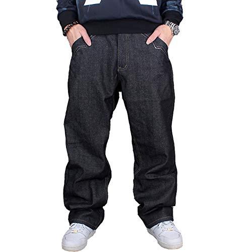 Ruiatoo Men's Baggy Jeans Classic Plain Loose Hip Hop Pants Dance Black Jeans Denim 38