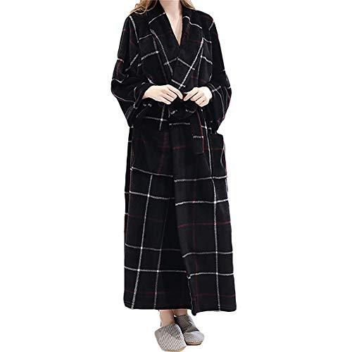 XiinxiGo Hombre Albornoz Mujer Invierno Franela Batas de Polar Cómodo y Suave Bata de Estar por Casa Ropa de Dormir,Negro Rojo,XL