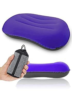 Oreiller de camping ultraléger, compressible, confortable, ergonomique et gonflable avec sac de rangement, pour le cou et le soutien lombaire pour randonnée, camping, voyage, petit oreiller