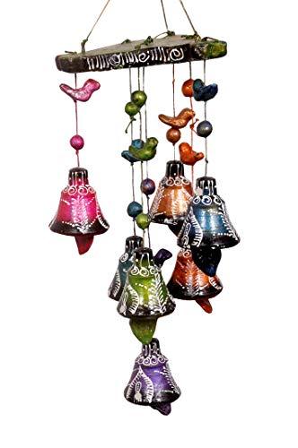 NandicoIndia Keramik-Windspiel, handgefertigt, 7 Glocken, Mehrfarbig, Geschenk für Sie, Weihnachtsgeschenklösungen