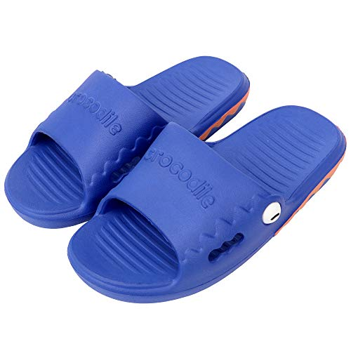PROCHE Kids Indoor Slippers Boys Girls Slide Sandals, Home Bedroom Slipper Soft EVA Super Light Cute Crocodile Bath Slippers (Toddler/Little Kid) Blue