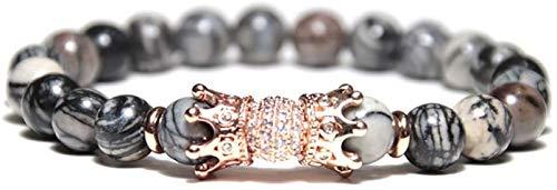 Plztou Pulsera de piedra Mujer, 7 chakra perlas de piedra natural de mármol gris brazalete elástico rosa dorada joyería de la corona de la corona de yoga equilibrio de la energía del encanto del difus