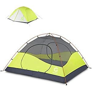 gonex camping tent, 4 person dome tent waterproof & windproof ultralight tent for 3 seasons, sewn-in tent floor, double layers, for family, festival, hiking, backpacking & mountaineering, easy set up, 260*230*135 cm