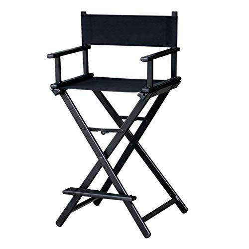 BAR STOOL Chaise Pliante en Toile Noire, Maquillage de télescope, Chaise de Maquillage Pliable en métal pour Le Directeur Artistique, Chaise de Maquillage, Hauteur du siège: 75 cm